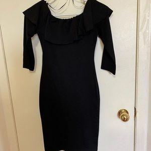 Zara black off the shoulder tight body-con dress